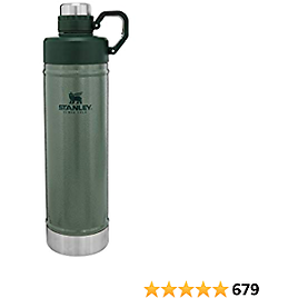 Stanley Classic Easy-Clean Water Bottle with Never Lose Hinged Leak Proof Lid, Stainless Steel Thermos for Cold Beverages, Wide Mouth Insulated Thermos