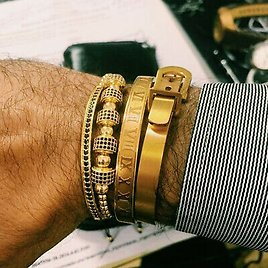 Luxury Men Stainless Steel Roman Numeral Cuff Bangle Fashion Stackable Bracelet