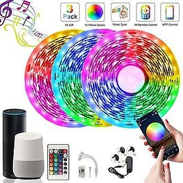 50FT WIFI Alexa LED Strip Lights with Remote Rooms Xmas Fairy Light 15M Full Kit