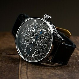 Black Rolex Damascus Watch - Silver Dial Hand Engraving,engraving Case,vintage