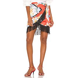 Song of Style Keaton Mini Skirt in Red Scarf   REVOLVE