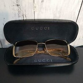 GUCCI Sunglasses Gold Brown Vintage GG2657/S Women Auth #101506