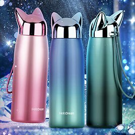Stainless Steel Vacuum Flasks Double Wall Thermos Bottle Cat Fox Ear Thermal Mug