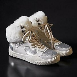 Fashion Womens Winter Fur Furry Boot Lace Up Glitter Sequins Leather Sport Shoes