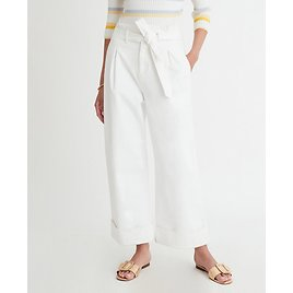 Belted Wide Leg Jeans in White | Ann Taylor
