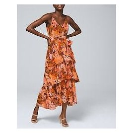 Abstract-Print Tiered Maxi Dress