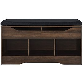 AmazonBasics Classic Shoe Bench with Lift-Top Compartment and 3 Storage Cubbies - 3 Colors