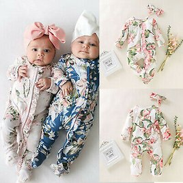UK Newborn Infant Baby Girl Floral Footed Romper Jumpsuit Autumn Outfits Clothes