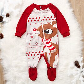 Newborn Infant Baby Girl Boy Deer Romper Jumpsuit Christmas Outfits Clothes FI .