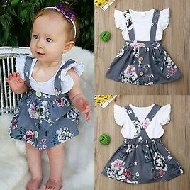 Toddler Kid Baby Girl Floral Ruffled Romper Suspender Skirt Clothes Outfit Set