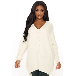 Down To The V Oversized Sweater - Ivory