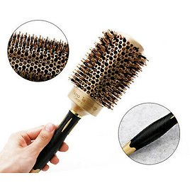 Round Boar Bristle Curling Styling Hair Comb Wooden Handle Hairdressing Brush US