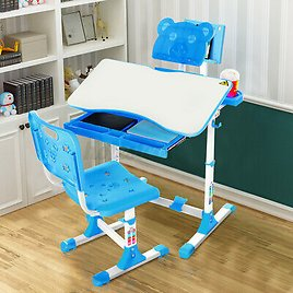 Height Adjustable Study Desk Table Chair Set For Kids Children Drawing Blue