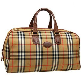 BURBERRY'S Horse Check Boston Hand Bag Purse Beige Brown Canvas Leather 30269