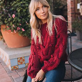 Heavy Cable Knit Pullover Sweater