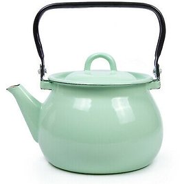 2.7qt Green Enameled Steel Kettle Teapot from Ukraine Top Quality Sturdy Durable