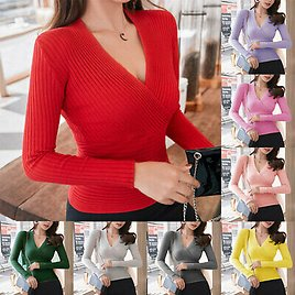 Lady Deep V Neck Pullover Slim Fit Sexy T Shirts Knitted Tops Long Sleeve Shirts