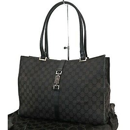 Authentic GUCCI Jackie Black GG Canvas and Leather Tote Handbag Purse #26230