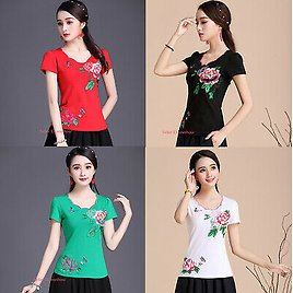 Womens Chinese Embroidery Floral Short Sleeve Cotton T-shirt Stretch Tops Blouse