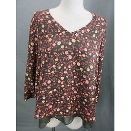 LC Lauren Conrad Size M Womens Brown 3/4 Sleeve Back Lace Casual Blouse Top T331