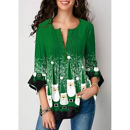 ROTITA Crinkle Chest Christmas Print Flare Cuff Blouse