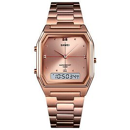 SKMEI Fashion Casual Digital Watch Stainless Steel Band Wrist Watches For Women
