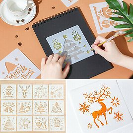 12x Christmas Reusable Stencils Plastic Template For Art Drawing Painting Tool