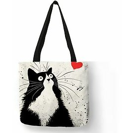 Cute Cat Printing Women Handbag Linen Tote Bags With Animals Casual Lady Bag New