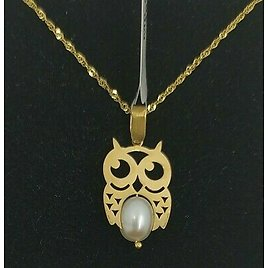Pendant And Chain Gold 18k. Owl With Pearl