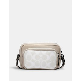 Mini Edge Double Pouch Crossbody in Signature Canvas with Coach Patch