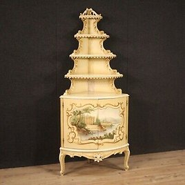 Corner Cupboard Furniture Wooden Antique Style Lacquered Golden Painted Living