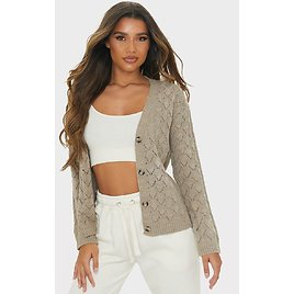 Mocha Pointelle Button Up Slouchy Cardigan