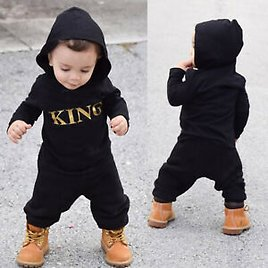 2PCS Toddler Baby Boy King Sweater Pants Outfits Clothes T-shirt+Pant Casual Set