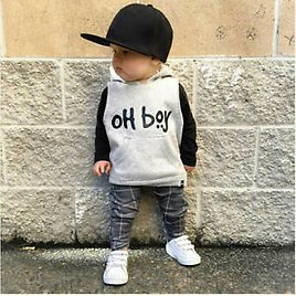Baby Boy Casual Long Sleeve Clothes Set Letter Hooded Tops+Pants Outfits Set US