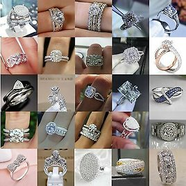 Gorgeous 925 Silver Rings Women Jewelry White Sapphire Wedding Ring Size 6-10