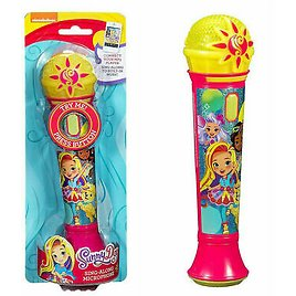 Sunny Day Sing Along Microphone with MP3 Input Karaoke Flashing Leds Sparkly