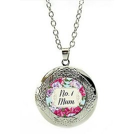 Mum Necklace Marbel Locket Silver No1 Mum Mother's Day Christmas Birthday LC10