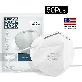 50x White KN95 Protective 5 Layers Face Mask BFE 95% PM2.5 Disposable Respirator