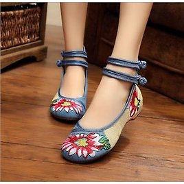 Chinese Old Beijing Women Casual Dance Shoes Wedges Embroidered Cloth Shoes