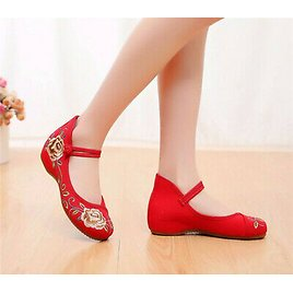 Chinese Old Beijing Women Casual Shoes Tulips Embroidered Cloth Shoes Dance Shoe