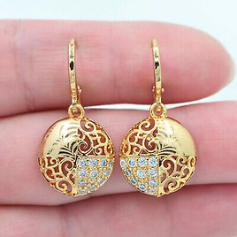 18K Yellow Gold Filled Clear Topaz Women Laser Stamped Round Dangle Earrings