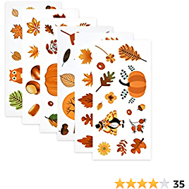 Viseeko Thanksgiving Window Clings Non Adhesive Window Stickers 12 Sheets Window Decals 144PCS Home Decor for Autumn Party Ornaments