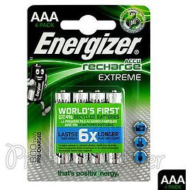 4 X Energizer Rechargeable AAA Batteries Accu Recharge Extreme NiMH 800mAh HR03 7638900416879