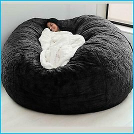 Giant Fur Bean Bag Lazy Sofa Living Room 7ft Cover Furniture Round Soft Fluffy