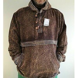 Men Hippie Stone Wash Bordered Pullover Smock Cotton Lined Festival Hippie NEPAL