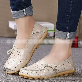 New Women's Leather Hollow Shoes Casual Ballet Slip On Flats Loafers Single Shoe