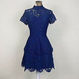 Missguided Dress 10 Blue Lace Aline Tiered Frill Layered Fit Flare Occasion