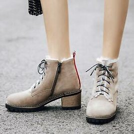 New Fashion Womens Round Toes Block Heels Lace Up Winter Ankle Boots Shoes