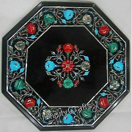 14 Inch Black Marble Sofa Side Table Top Floral Work with Gemstones Coffee Table