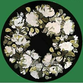 16 Inches Marble Bed End Table Top with White Stone Flowers Inlay Coffee Table